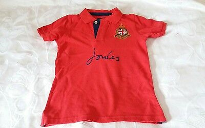 Boys Joules Polo T Shirt. Red Cotton. Age 5-6 Years. Height 116 Cm.