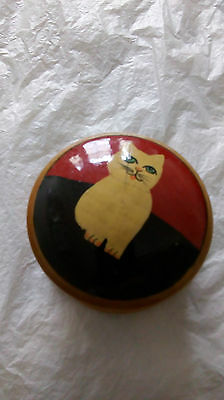 small wooden trinket box with cat motif
