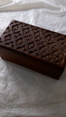 decorative carved top wooden trinket box