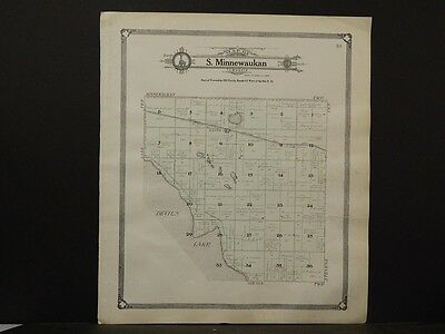 North Dakota Ramsey County Map, S. Minnewaukan Township 1909  K7#43