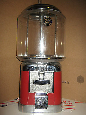 Beaver Gumball Machine Red Table Bar Top Bubble With Key 25 Cent Coin Receiver