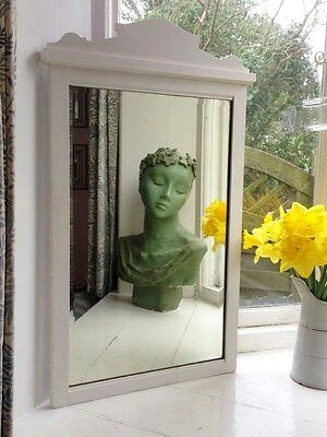 Charming Large Off White/cream Painted Antique/vintage Edwardian Wall Mirror