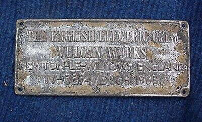 English Electric Company Ltd Plaque Vulcan Works Newton-Le-Willows England 3274