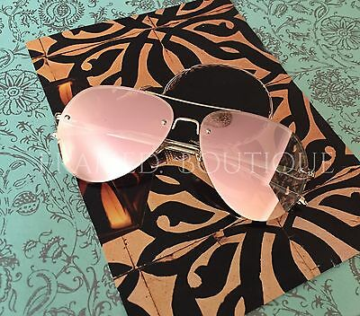 LUXE ROSE GOLD MIRRORED Reflective AVIATOR SUNGLASSES DESIGNER Inspired