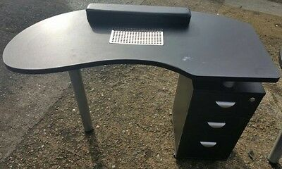 Black Manicure Table/ Nail Technician Station Desk, Kidney Shape, With Drawers.
