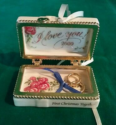 """Ceramic Chest w/Rings & RosesOrnament """"First Christmas Together 2000"""""""