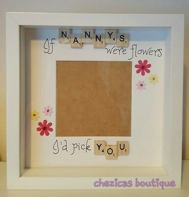 Personalised Scrabble Photo Frame Nan or mum Mothers Day Birthday Gift Handmade