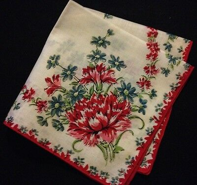 "Adorable Vintage Red Carnation Handkerchief  12"" x 12"""