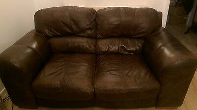 DFS Brown Leather 2 Seater Settee and Footstool