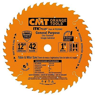 CMT P12042 ITK Plus General Purpose Saw Blade, 12 x 42 Teeth, 10° ATB+Shear w...