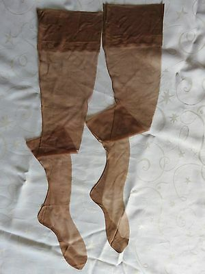 "Rare Vintage Unworn Seamed Silk Stockings Deep Amber  Size 8.5""  (- 9.5"" approx)"