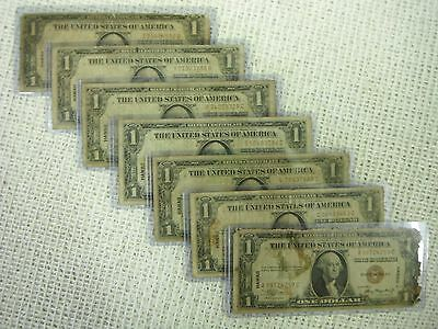 7 Hawaii Silver Certificates, WW2, All different Blocks,Nice, Free Comb Shipping