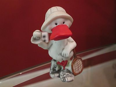 Vintage 1977 Ceramic Duck in Tennis Outfit with Racket and Ball