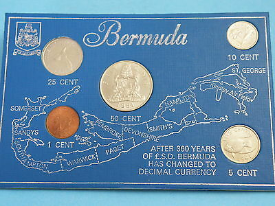 BERMUDA  - 1981 FIVE PIECE COIN SET -  50 CENTS to ONE CENT COINS