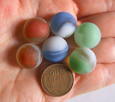 SCOTTISH SEA GLASS BEACH FINDS 6 various glass MARBLES