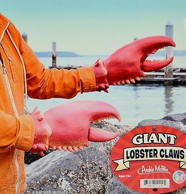 2 Red Lobster Claws Costume Party Accoutrements Halloween Fish Gloves Accessory