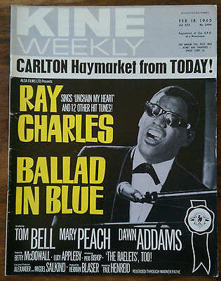 Vintage Kine weekly magazine Feb 18 1965 Ray Charles cover