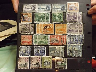 Selection of Geroge VIth stamps from Cyprus-MH & Fine Used
