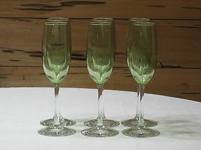 "Set of 6 Green Champagne/Wine Goblets with Clear Stems 9 1/4"" tall MINT"