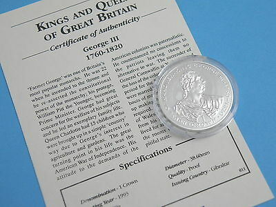 GIBRALTAR - 1993 SILVER PROOF ONE CROWN COIN - Kings & Queens - KING GEORGE III
