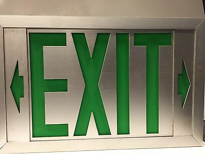 Exit sign - aluminum with Green letters - authentic - USED