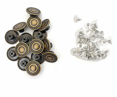 17mm Jeans Buttons Brass Replacement Repair Hammer On Screw Pins Jackets x 10