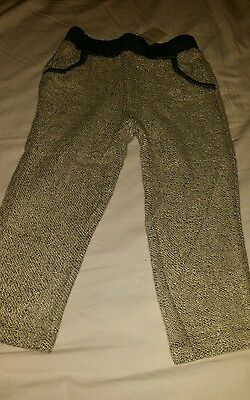 BABY GAP GIRL Metallic Loop Oatmeal Gray Gold Sweatpants Size 3 years NWT