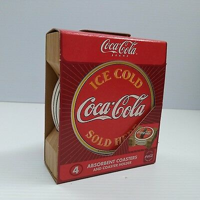 """Coca-Cola """"ICE COLD"""" Coasters in Wooden Holder Set - BRAND NEW"""