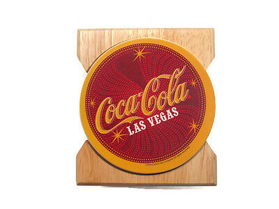 "Coca-Cola ""LAS VEGAS"" Coasters in Wooden Holder Set - BRAND NEW"