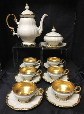 Hutschenreuther Selb Bavaria Gold Teapot, Cover Bowl, 6 Demitasse Cup & Saucers