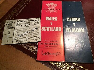 Wales v Scotland rugby 1978 programme with ticket
