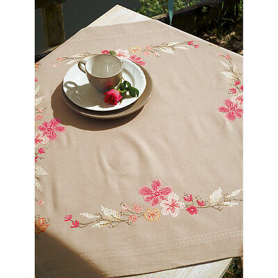 "Pink Flowers Tablecloth Stamped Cross Stitch Kit-32""X32"" V0154963"