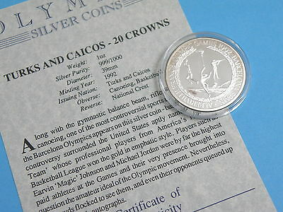 TURKS & CAICOS - 1992 SILVER PROOF 20 CROWNS COIN - OLYMPIC GAMES - CANOEING etc