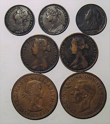 7 English UK Great Britain Penny Half Penny Farthing Victoria Elizabeth George