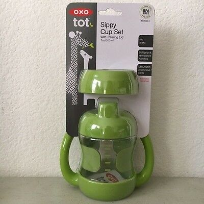 OXO Tot Sippy Cup Set with Bonus Training Lid 7oz Green