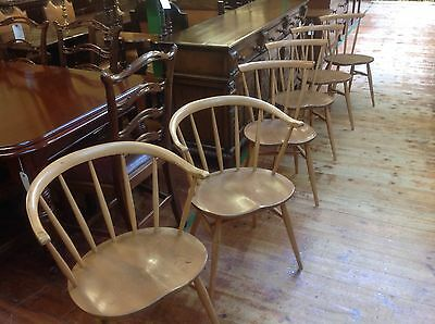 Set of Six 1950/s Ercol Blonde Cowhorn Dining Chairs - Blue Labels