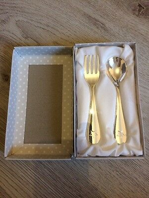 Christening Gift, Silver Played Fork And Spoon