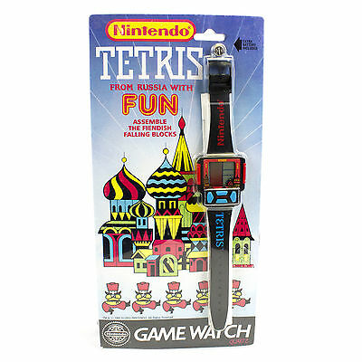Vintage 1990 LCD Nintendo Tetris Game & Watch Wrist Watch, Sealed