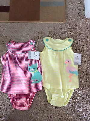 NWT lot of 2 baby girl Carter's Sunsuit Rompers 18 months