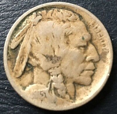#123 U.S.A. Coin 5 Cents 1913 Date Still Visible Clear edges beautiful