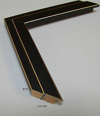 Black step w/ gold pin stripe NEW Modern PICTURE FRAME moulding