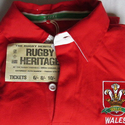 Rugby Heritage Mens Size Xs Long Sleeve Wales Jersey Top F1/2306