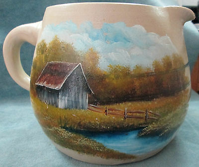"""1982 Hand Thrown & Painted Scenic Artist Signed 6"""" High X 7"""" D Stoneware Pitcher"""