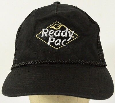 bd1beb98006d2 Ready Pac Embroidered Black Mesh Trucker Hat Cap with Snapback Strap Adjust