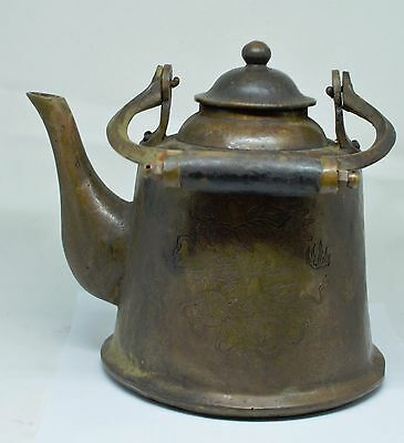 Large and Heavy Chinese Brass Teapot ~ Etched Scene ~ Marked ~