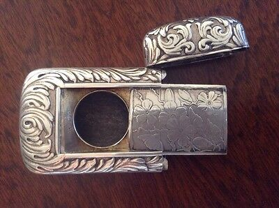 1889 Antique Pocket Match Safe Sterling Silver Vesta Photo, Stamp Compartment