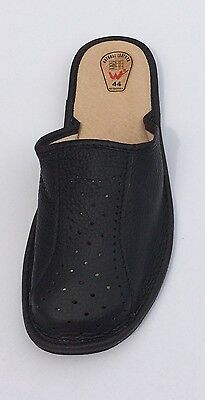 Men's Sheep Leather Slippers Shoes Black  Handmade