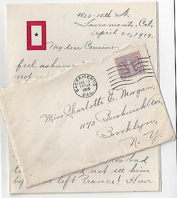 1919 Sacramento Cover #537 Victory Stamp w/Letter AEF WWI in France US Army
