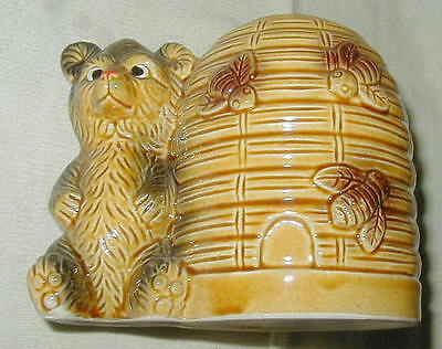 Vintage Ceramic Bear And Behive Figural Still Bank, Cute