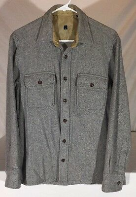 Vintage 80's Wool Blend Grey Flannel Long Sleeve Button Down Shirt Men's S